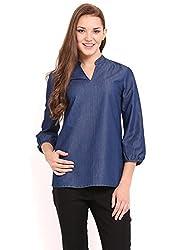Femenino Deep Blue Coloured Denim Top