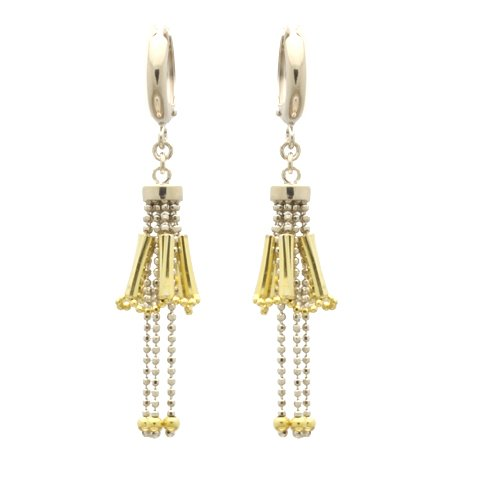 Sterling Silver Chain Earrings Skirt With Tube Drop Handmade Two Tone Silver Earrings