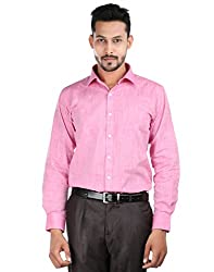 Oxemberg Men's Solid Formal 100% Cotton Pink Shirt