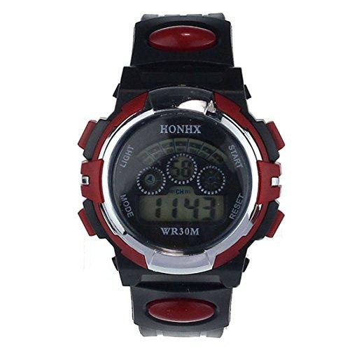 Coromose Digital Led Quartz Alarm Sports Wrist Watch For Man (Red)