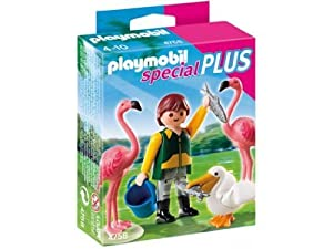 Playmobil 4758 Figure Set - Zookeeper with Pink Flamingoes and Pelican