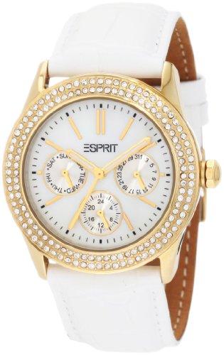 Esprit  Peony Gold White - Reloj de cuarzo para mujer, con correa de cuero, color blanco