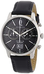 Zeppelin Men's Flatline Chronograph Watch 73862 with Black Dial and Strap