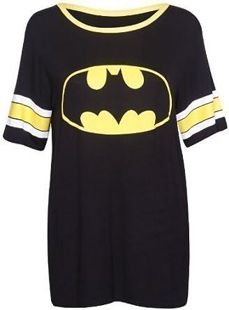Damen T-Shirt Top Superman Batman Superheld Logo Aufdruck Kurzarm Rundhals Stretch Baseball Lang - Batman, EU 36-38