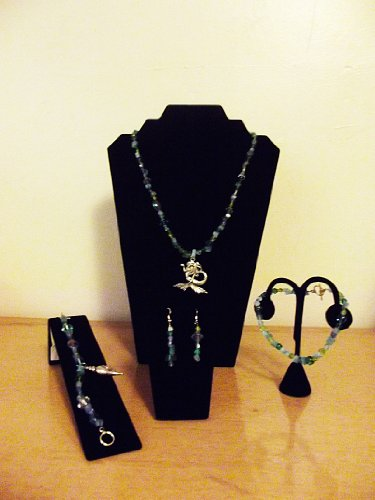 A MERMAID'S JEWELS (5 PIECE SET - NECKLACE, EARRINGS, BRACELET, ANKLET) - GLASS AND ACRYLIC BEADS, HANDMADE