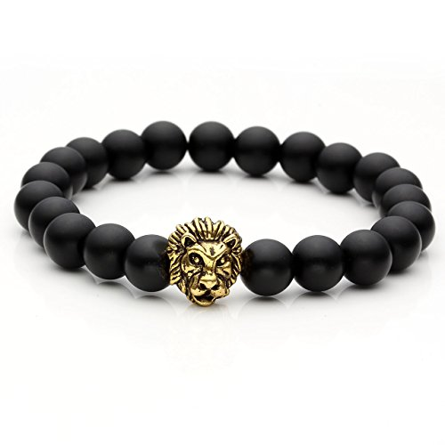 Top Plaza Jewelry Lava Rock Turquoise Matte Agate Picture Jasper Mens Womens Bracelet, Energy Beads, Gold Plated Lion Head (Matte Black Agate)