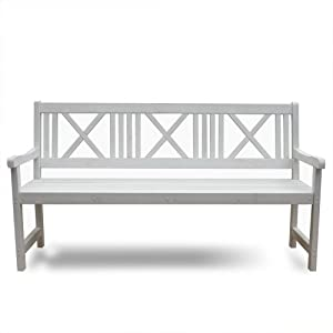 banc de jardin en bois blanc 3 places mobilier de jardin blanc jardin. Black Bedroom Furniture Sets. Home Design Ideas