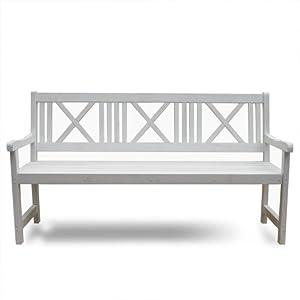 Banc de jardin en bois blanc 3 places mobilier de jardin for Banc tv bois blanc