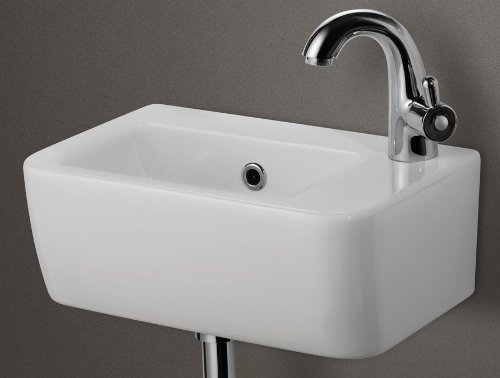 ALFI brand AB101 Wall Mounted Ceramic Bathroom Sink Basin, Small, White