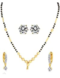 YouBella Traditional Designer Gold Plated 1 Mangalsutra, 1 Bali & 1 Earring - Combo Of 3 Jewellery For Women