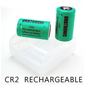CR2 Rechargeable 3V Lithium Li-ion Battery (Two Pre-charged Batteries with Protection Case)