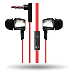 Amkette Trubeats Atom X6 Earphone (Tangle-free Cable With In-Built Mic) with Dura Music Buds (Red)