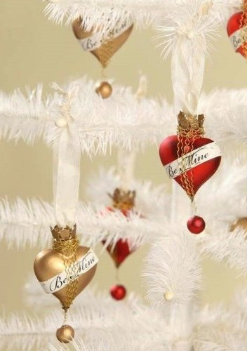 Bethany Lowe Valentine – Be Mine Heart Ornament, Set of 2 – LG3375