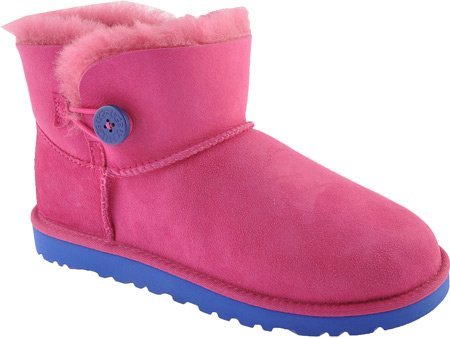 UGG Australia Children's Mini Bailey Button Fleece Lined Boots,Fuchsia,13 Child US