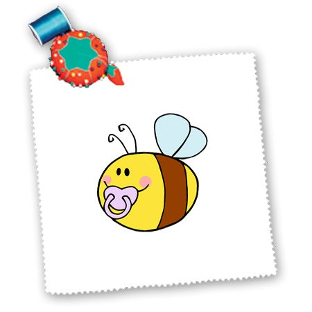 Qs_175736_10 Susans Zoo Crew Baby Kid Designs - Cute Bee With Pacifier In Mouth - Quilt Squares - 25X25 Inch Quilt Square front-235073