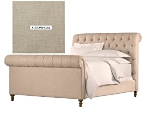 Chesterfield Upholstered Sleigh Bed Almond