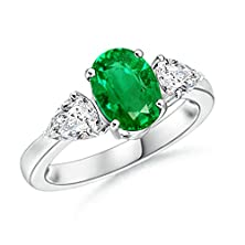 buy Oval Emerald And Pear Diamond Three Stone Ring In 14K White Gold