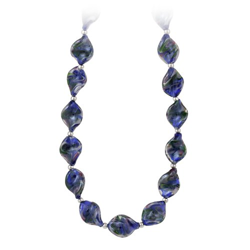 Sterling Silver and Dark Blue Twisted Glass Oval Bead Necklace, 19