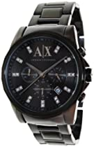 Armani Exchange Banks Chronograph Black Dial Black Ion-plated Mens Watch AX2093