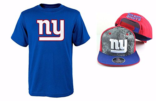 NFL Youth Sizes 8-20 Perfomance T-shirt With Adjustable Cap Set (Youth Small 8, New York Giants) (New York Knicks Jersey Kids compare prices)