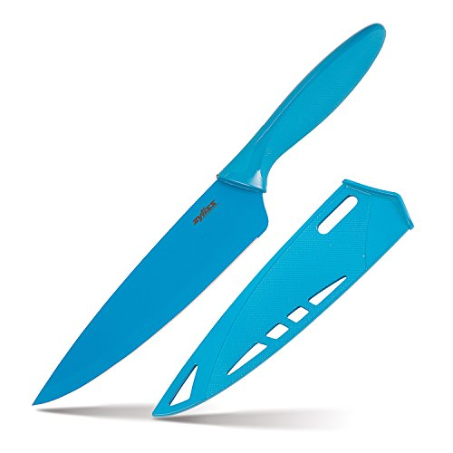 Zyliss Chef's Knife with Sheath Cover, 7.25-Inch Non-Stick Stainless Steel Blade, Blue