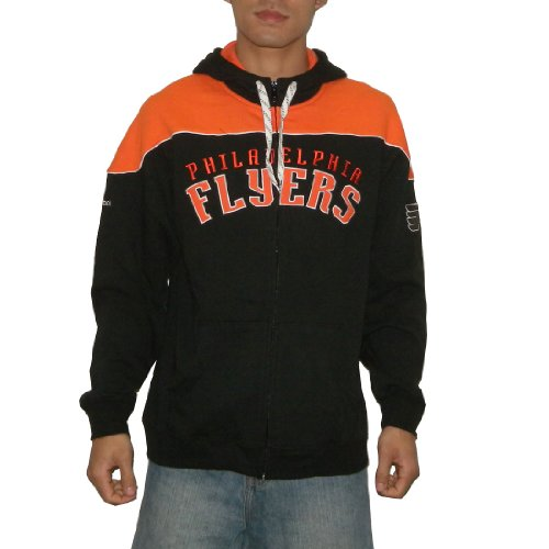 NHL Philadelphia Flyers Mens Athletic Warm Zip-Up Hoodie / Sweatshirt Jacket with Embroidered Logo (Size: L)