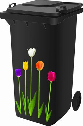 Wheelie Bin Stickers - Tulips - FREE POSTAGE