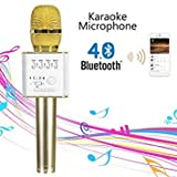 #9: NAVKAR Karaoke New Q7 Microphone Wireless, Portable Handheld Singing Machine Condenser Microphones Mic And Bluetooth Speaker Compatible with iPhone/ iPad/ iPod/ and all android smartphones.