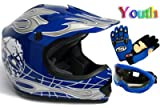 Youth Black/Blue Punk Dirt Bike Atv Motocross Helmet Mx+goggles+gloves (Large)