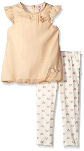 Juicy Couture Baby Girls' Shimmer Georgette Gold Top with Printed Leggings, Gold, 18 Months