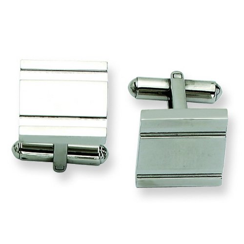 Stainless Steel Polished Cuff Links. Metal Weight- 13.72g. Cuff Links.
