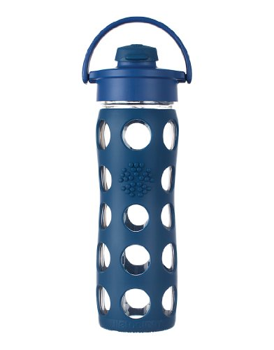 Lifefactory 16-Ounce Glass Beverage Bottle with Flip Top Cap, Midnight Blue