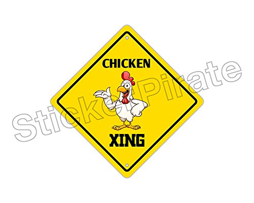 Funny Chicken Signs: Chicken Crossing Funny Metal Novelty Sign Aluminum Home