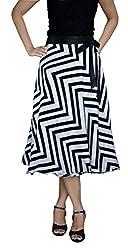 DeeVineeTi Striped Women's Wrap Around Skirt, Black & White, FreeSize