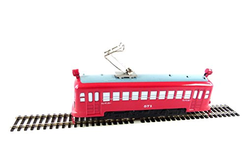 Japanese 7 inch Red Electric Tin Toy Tram with Rail from Japan