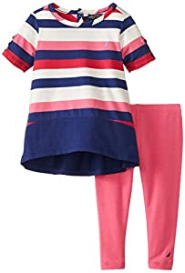 Nautica Baby-Girls Infant 2 Pack Stripe Top and Legging Set, Pink, 24 Months