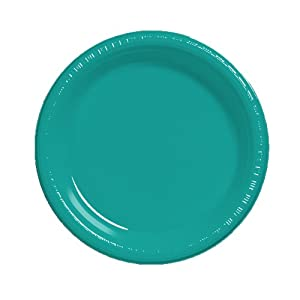 Creative Converting Touch of Color 20 Count Plastic Banquet Plates, Tropical Teal