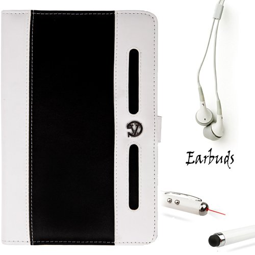 White And Black Executive Leather Lightweight, Durable Portfolio Carrying Cover Case With Hand Strap For Samsung Galaxy Tab 2 7-Inch Student Edition + White Crystal Clear High Quality Hd Noise Filter Ear Buds ( 3.5Mm Jack ) + Professor Pen 3 In 1 Red Lase