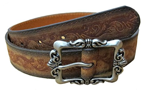 Ladies Pewter Buckle Belt Embossed 100% Leather-brown