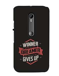 MOTO G3 Winner Dreamer Black Printed Mobile Cover