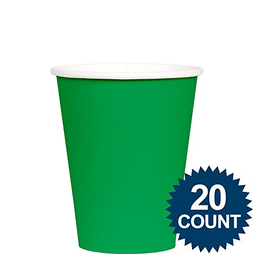 Amscan 20 Count Festive Value Paper Cups, 9 oz, Green