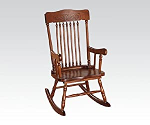 Kloris collection pressed back spindled back tobacco finish wood children's size rocking chair