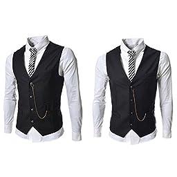 Bangniweigou® Mens Slim Fit Chain Point 4 Buttons Vest,Black,US M