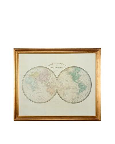 LUXURY GLAM Hogar Cuadro 112X4X92 Mapa Mundi Dorado