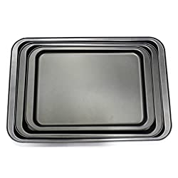KurtzyTM 3 Piece Large Non-Stick Oven Baking Roasting Tray Set Tin Pans