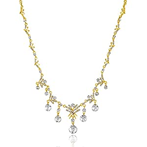 Oviya Gold Plated Snowflake Necklace Set with Crystal For Women NL4101027G