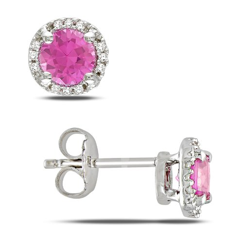 Sterling Silver 1 1/6 CT TGW Created Pink Sapphire 0.07 CT TDW Diamond Stud Earrings (G-H, I3)