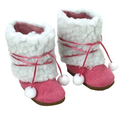 18 Inch Doll Boots, Fuchsia Ewe Boots by Sophia's, Fits 18 Inch American Girl Dolls & More! 18 Inch Doll Shoes of Faux Suede & Sherpa Fur Fuchsia Ewe Doll Boots W/Ties - 1