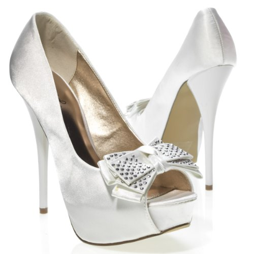 Qupid Women&#8217;s NEUTRAL219 Bow Open Peep Toe Silver Crystal Studded Bridal Party Platform Stiletto High Heel Pump Sandal Shoes, White Satin, 7.5 B (M) US
