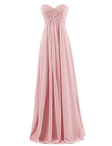 Ouman Sweetheart Bridesmaid Chiffon Prom Dress Long Evening Gown Blush M